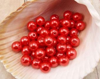 4mm Glass Pearls - Orange-Red - 100 pieces - Bright Burnt Orange