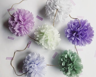 FRENCH COUNTRYSIDE mini pompom garland girl baby bridal shower photo prop first birthday party decorations pastel purple green wedding aisle