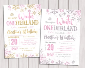 WINTER ONEDERLAND INVITATION Chalkboard Pink and Silver First