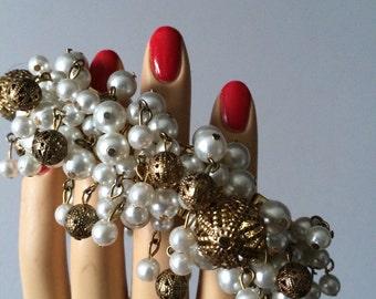 Expandable Pearl Bracelet /Costume Jewelry Bracelet / Wedding Jewelry / Wedding Accessory /