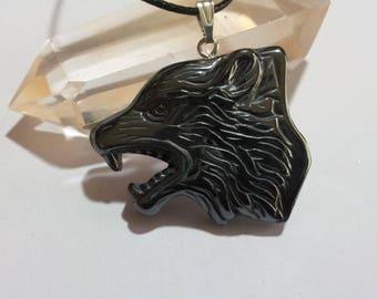 Wolf Pendant in Hematite + Free Shipping Worldwide, wolf jewelry, crystal wolf jewelry, animal jewelry, wolf necklace, wolf jewellery, wolf