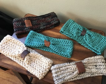 Crochet and Leather Headband