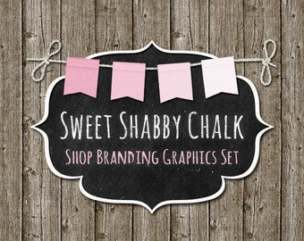 Shabby Bunting Shop Branding Banners, Avatar Icons, Business Card, Logo Label + More - 12 Premade Graphics Files - SWEET SHABBY CHALK