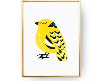 Scandinavian Bird Poster, Bird Illustration, Nursery Decor, Bird Art, Yellow Bird, Nursery Wall Art, Childrens Room Decor, Girls poster