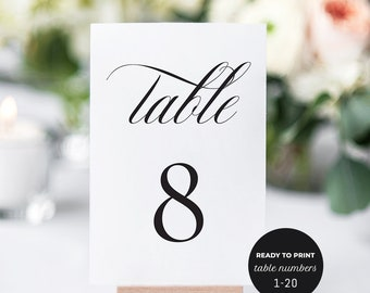 Table Number Cards. Printable Table Numbers 1-20. Wedding Table Numbers Template, DIY Wedding Table Number, Classic Elegant Table Numbers