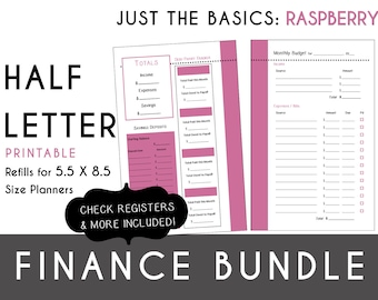 Half Letter [5.5 x 8.5] FINANCE Bundle  Check Register, Monthly Budget, Debt Payoff Tracker, Debtor Contacts Passwords PDF - Raspberry