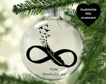 Infinity feather ornament | memorial ornament | Feathers to birds ornament | In Memory of Ornament | Memorial Christmas Ornament |