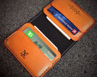 Leather Minimalist Wallet, Card Holder, Card Wallet, Men's Wallet, Women's Wallet, Floral Design