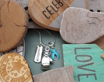 LB-2 Lymphedema Necklace Prostate Cancer Anorexia Awareness Cancer Survivor Jewelry Warrior Boxing Necklace Charm Jewelry Glove Necklace