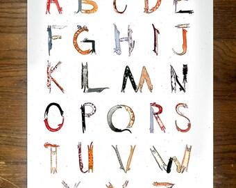 Cat Lettered Alphabet Print 12x18