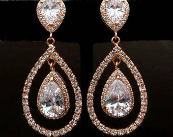 wedding jewelry bridesmaid gift party prom bridal christmas earrings Clear white teardrop diamond cubic zirconia rose pink gold post clip on