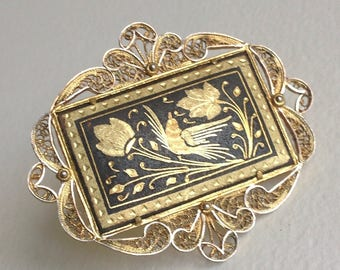 Beautiful  Damascene Lovebirds and Flowers Brooch Pin - Gold Filigree - Gifts for Her - Mothers Day