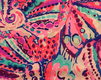 """colony coral shell out poplin cotton fabric square 18""""x18"""" ~ lilly pulitzer"""