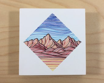 Small Mountain Block in Blue, Red, and Yellow - Original Pen Drawing on Wood - Colorful Mountain Art