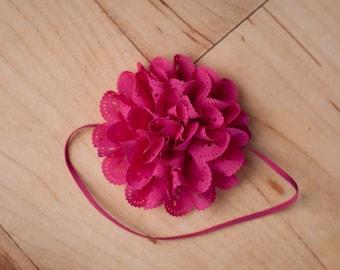 Hot Pink Headband, Hot Pink Flower Headbands, Hot Pink Headbands, Baby Headbands, Newborn Headbands