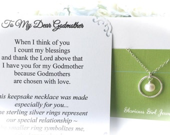 GODMOTHER Gift Godmother Necklace w/ choice of POEM Card - Genuine PEARL Gift for Godmother Jewelry Sterling Silver Gift Wrapped/ready ship
