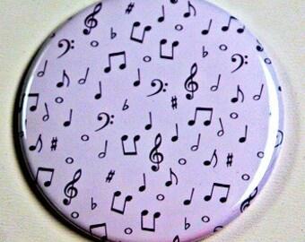 Music Notes Pocket Mirror 2 1/4 inch