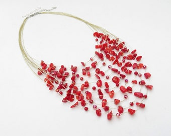 Red coral stone multistrands necklace with crystal on gold silk thread, multi strands