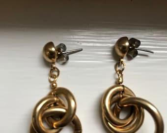 Vintage Light Gold Dangly Dangle Drop Earrings