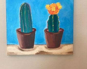 Cactus, Original Acrylic Painting. Whimsical painting.