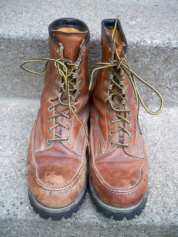 Made Vintage 10 Birding Toe Boots Size Sole USA Leather Wide Brown Men's in Soft Extra Vibram Hunting Working Chippewa Work x0I6rTwqI