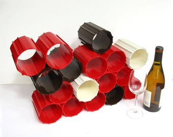 Rare 1970s Modular Interlocking Wine Rack Bottle Holder, Red Brown White Hard Plastic, Modern Functional Sculpture