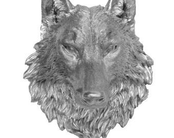 Silver Wolf Head Mount Wall Statue. Faux Taxidermy Fake Wolf Head.