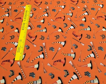 Cheeky Pumpkins-Halloween Hats and Brooms (2691-30) Cotton Fabric from Studio E