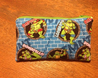 children's zippered teenage mutant ninja turtle cloth pencil case