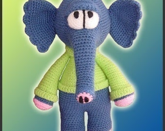 Amigurumi Pattern Crochet Waldo Elephant Doll DIY Digital Download