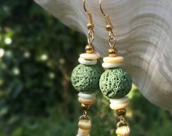 Earrings Tassel earrings  Lava beads earrings Green earring Yellow tassel earrings Boho earrings Dangle & Drop earrings Free shipping