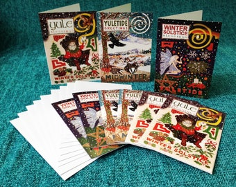 Pack of 9 Yuletide Winter Solstice Colourful Pagan Fairy Greeting Cards. 3x3 designs