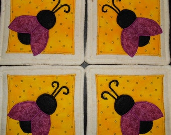 Primitive Whimsical Country Garden LADYBUGS Coasters Mug Mats Scatter Mats Hot Pads Trivets