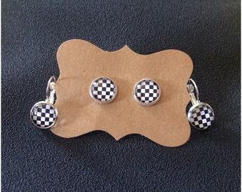 Checkered Flag Earrings - Motocross - Racing Jewelry - Earrings - Checkered Flag - Motocross Jewelry - Post Earrings - Dangle Earrings
