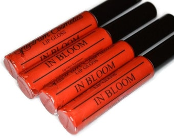 IN BLOOM  Coral with Gold Sparkle Lip Gloss
