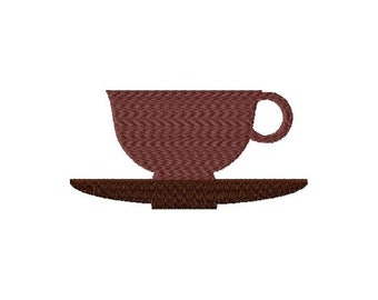 Tea Cup Machine Embroidery Design - Instant Download