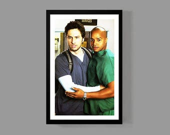 Scrubs TV Show Poster - JD & Turk Print - Digital Oil Painting - BFF, Bromance, Best Friends, Comedy, Funny, Classic, Man Cave