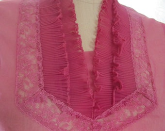 S Pink Sheer Pinup Secretary Suit Blouse Vintage 1950s Crystal  Lace Pleats
