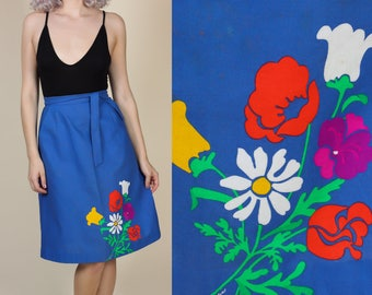 70s Floral Wrap Skirt | Vintage Hawaiian Blue Knee Length High Waisted - Small/Medium