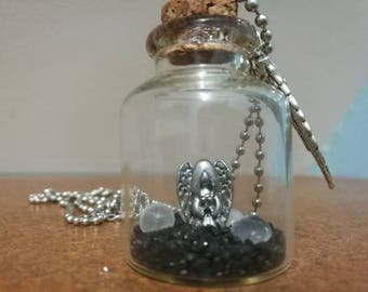Supernatural Angel Glass Bottle Necklace With Charm