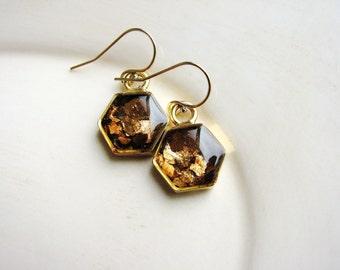 Mica Hexagon Earrings, Geometric Earrings, Bohemian Earrings, Boho Earrings, Minimalist Gold Earrings, Geology Earrings, Naturalist Gift