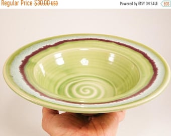 ON SALE Serving Bowl - Flared Bowl - Green Bowl - Decorative Bowl - Pottery Charger - Ceramic Bowl - Pottery Bowl - Bowl With Flared Rim - I