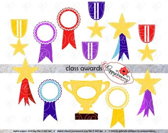 Class Awards Clipart Set: (300 dpi) School Teacher Clip Art Digital Awards Trophy Ribbons Medals