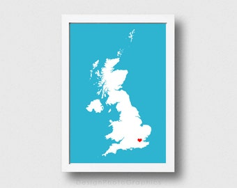 Custom State print Digital Download - State with Heart State Map Country