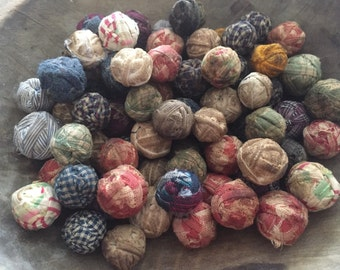20 small/medium Ragballs Look Old Primitive Country Rag Balls farmhouse rustic