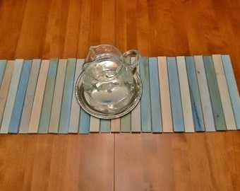 Table Runner, Wood, Beach Inspired, Cottage, Blue, Rustic, Natural Wood Grain
