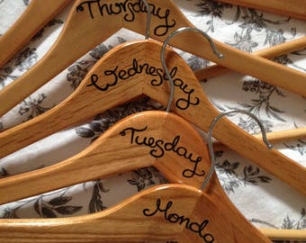 Days of the week hangers, wooden outfit planning clothes hangers  - weekdays, set of 5  - decorated hangers, hand drawn, outfit hangers