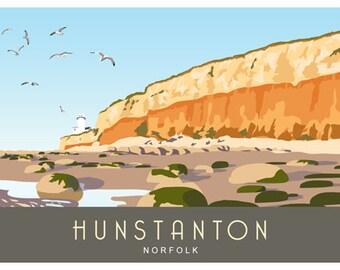 HUNSTANTON CLIFFS and LIGHTHOUSE, North Norfolk Coast, Landscape. Modern railway poster. Landscape A4, A3, A2.