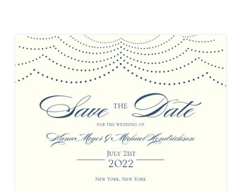 """Navy and ivory chandelier pattern save the date card """"Happily Ever After""""; SAMPLE ONLY"""