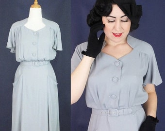 60% OFF Vintage 1930's 1940's rayon dress / Darla / Authentic vintage reproduction / Grey rayon crepe 30s 40s dress / XS S M L Xl / Made to